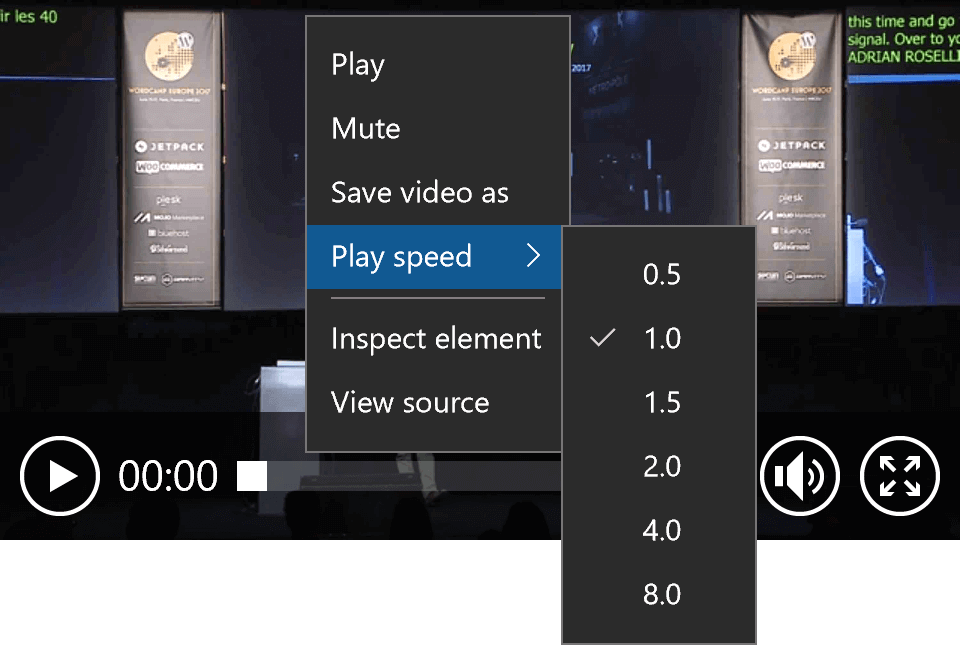 Screen shot of the video playback speed context menu in Edge.
