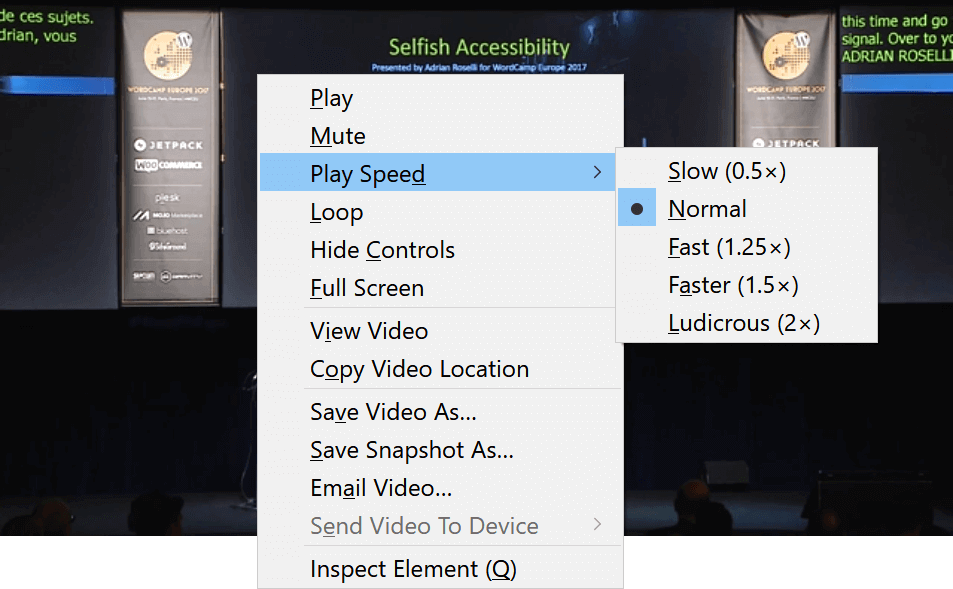 Screen shot of the video playback speed context menu in Firefox.