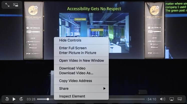 Screen shot of the video context menu in Safari.