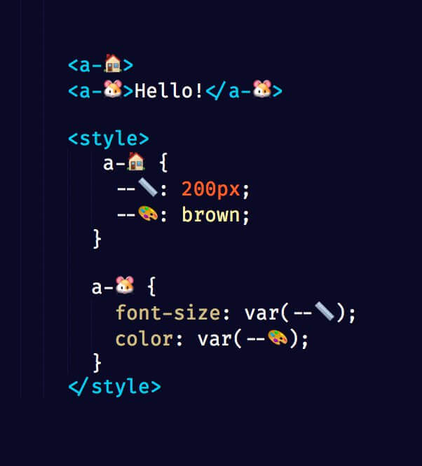 Screen shot from a CodePen showing emoji used as CSS variable names.