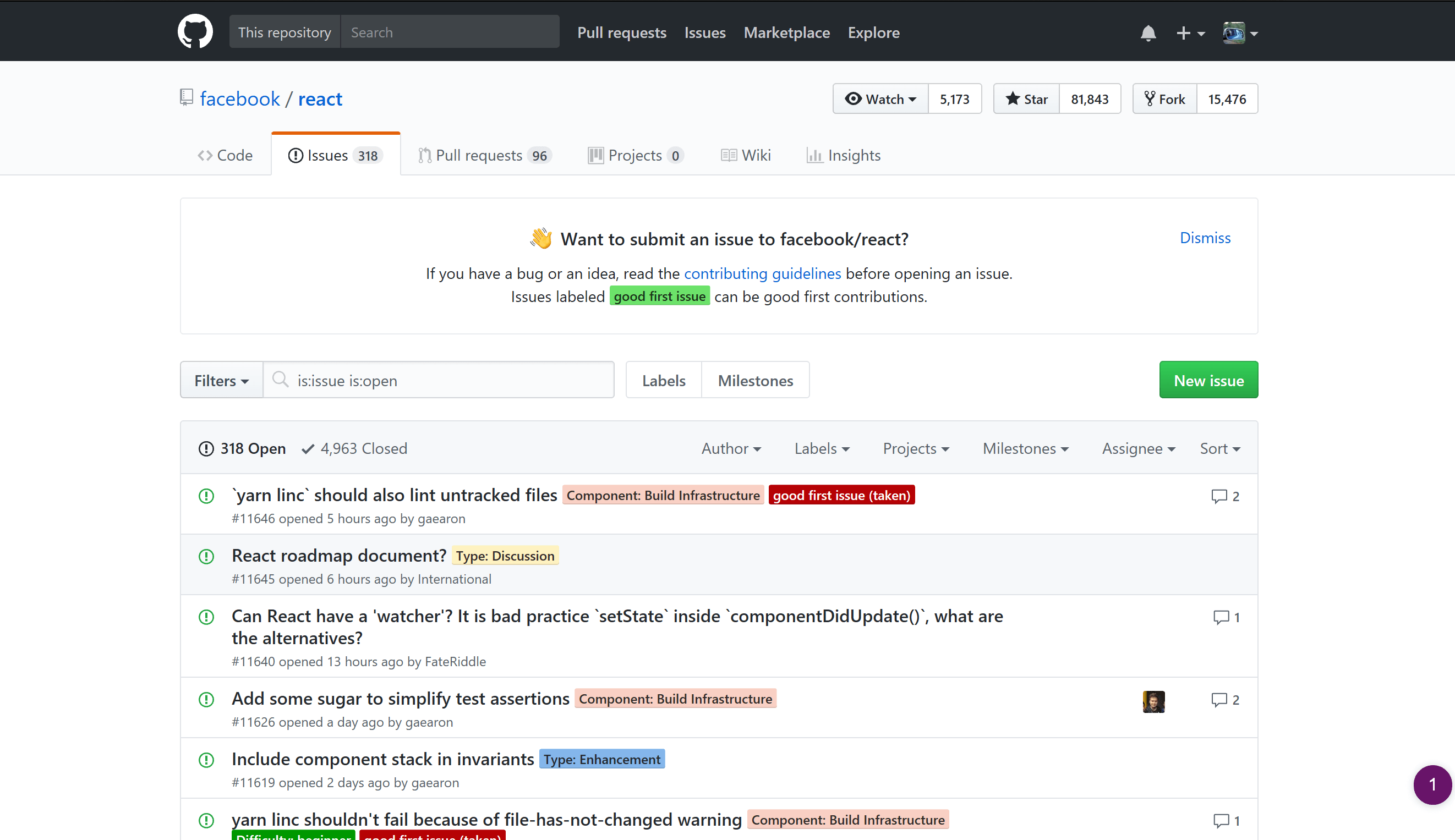 A GitHub page as viewed in Microsoft Edge with no OS color settings applied. The default view.