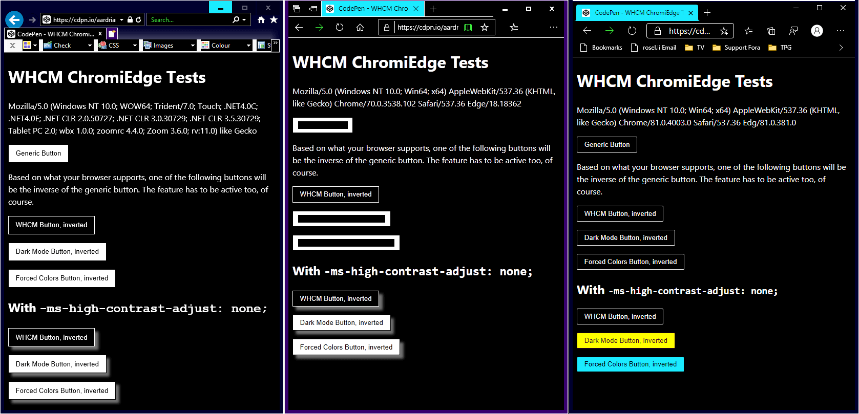 Internet Explorer 11, legacy Edge, Chromium Edge side by side in High Contrast mode.