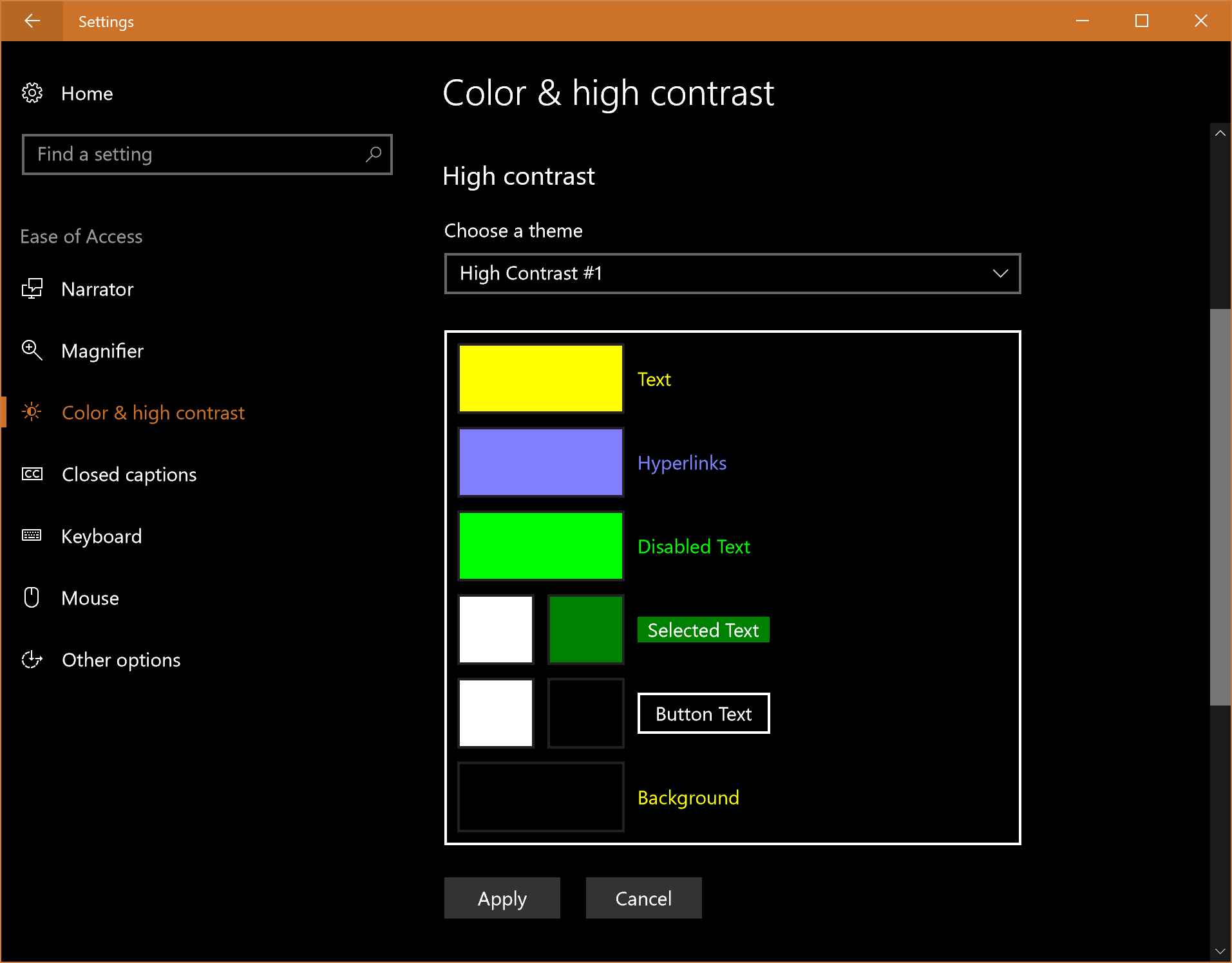 Windows 10 (Fall 2017 Creators Update) high contrast mode settings dialog.
