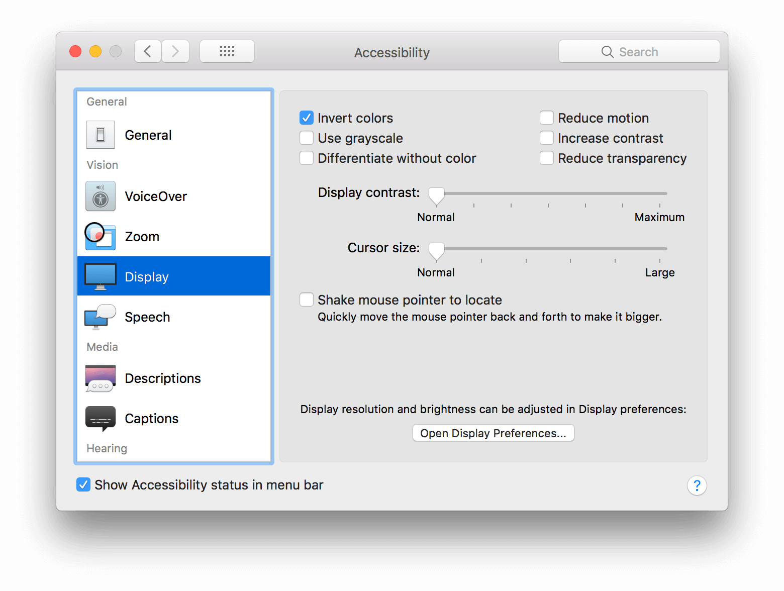 macOS (HighSierra) invert color settings dialog.
