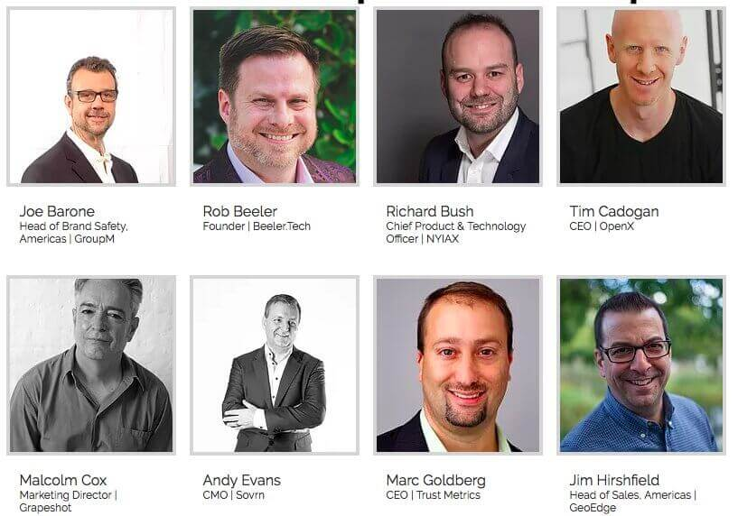 Photographs of featured conference speakers that are all white and male