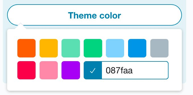 Theme color button activated, showing 10 preset colors and an input field where you can enter your own hex color code. The color #087faa has been provided.