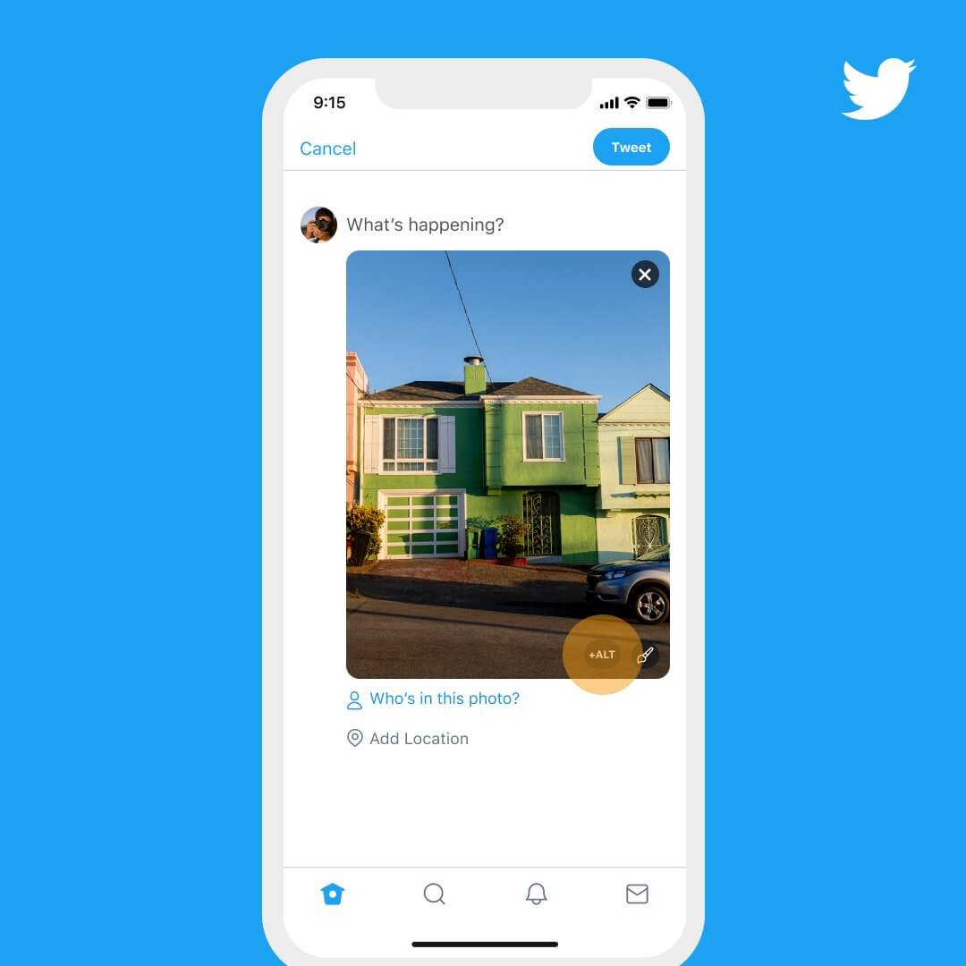 A screenshot of the Tweet composer with an attached image of a green house with a blue sky. The image has a button that is highlighted with a '+ALT' label, to indicate to people the change Twitter has made to the image description flow.