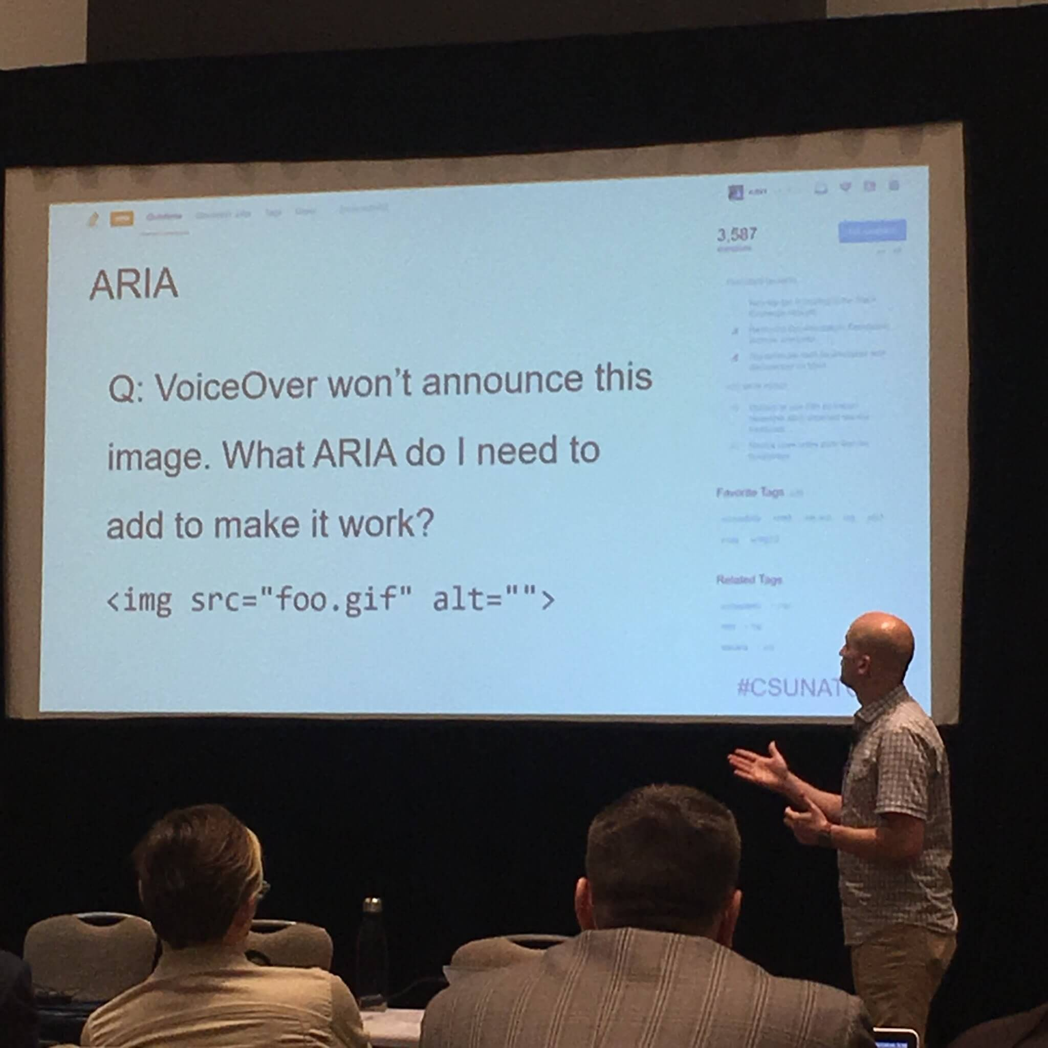 "Slide with text: ""Q: Voiceover won't announce this image. What aria do I need to add to make it work? Image Html with empty alt"""