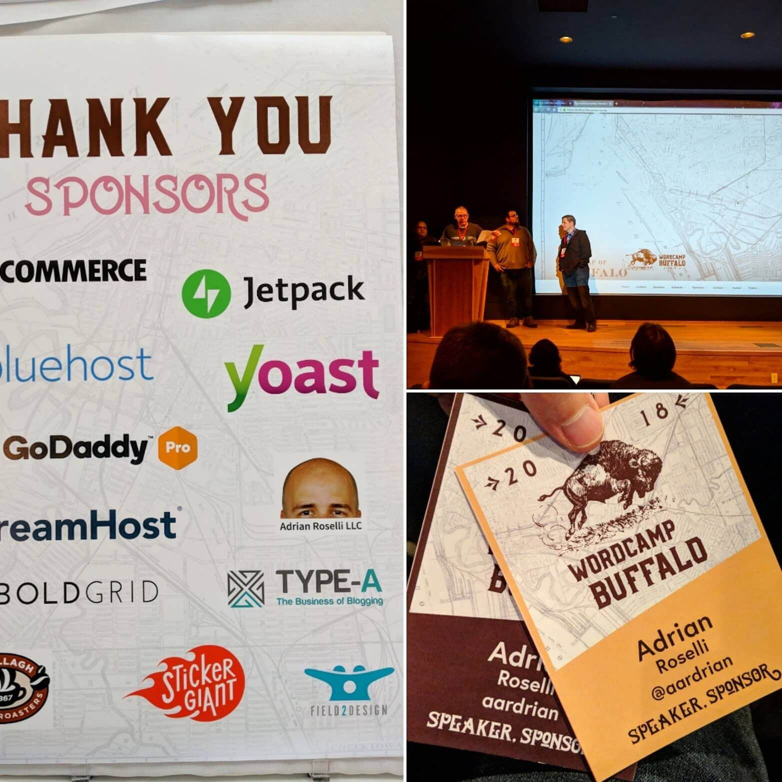 My two badges (speaker and sponsor), the sponsor poster with my head, and the organizer team delivering opening remarks.