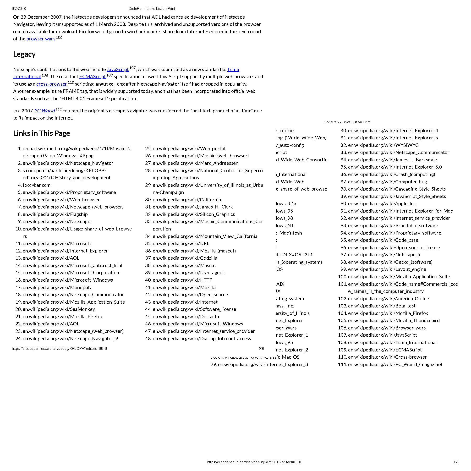 Example of a couple printed pages showing the links list.
