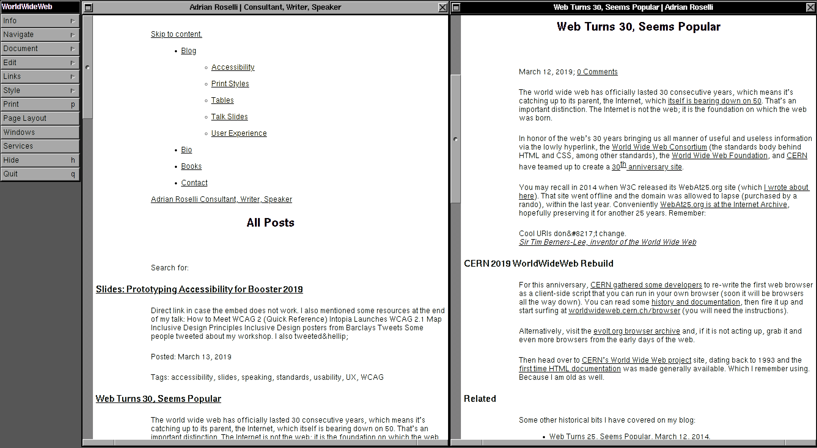 Two black and white browser windows showing simple structured text, representing the basic HTML elements used on the site.