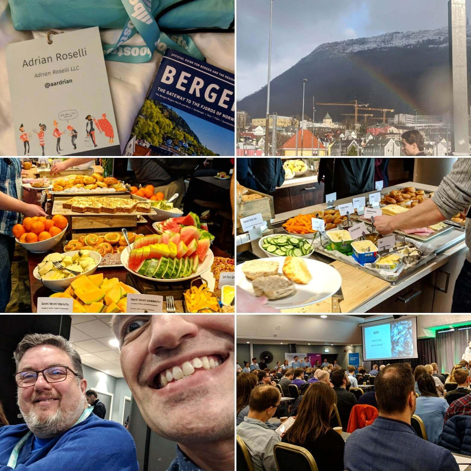 Multiple photos including my badge, a rainbow, two tables full of food, a crowded room of attendees, and Martin.