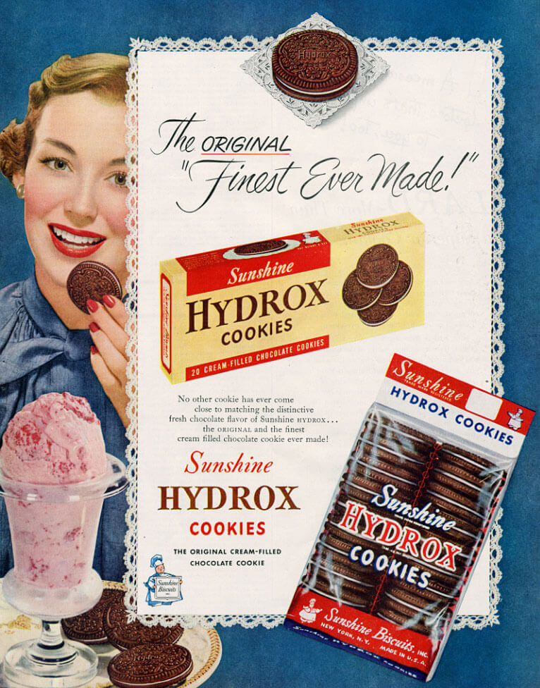 "Magazine ad for HYDROX with the text ""The original, 'finest ever made'""."