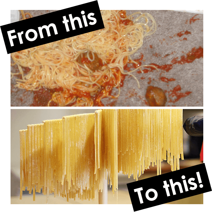 "The text ""From this"" over a photo of spaghetti, sauce, and meatballs on the floor, alongside the text ""To this!"" alongside a neat collection of spaghetti drying on a pasta drying rack."