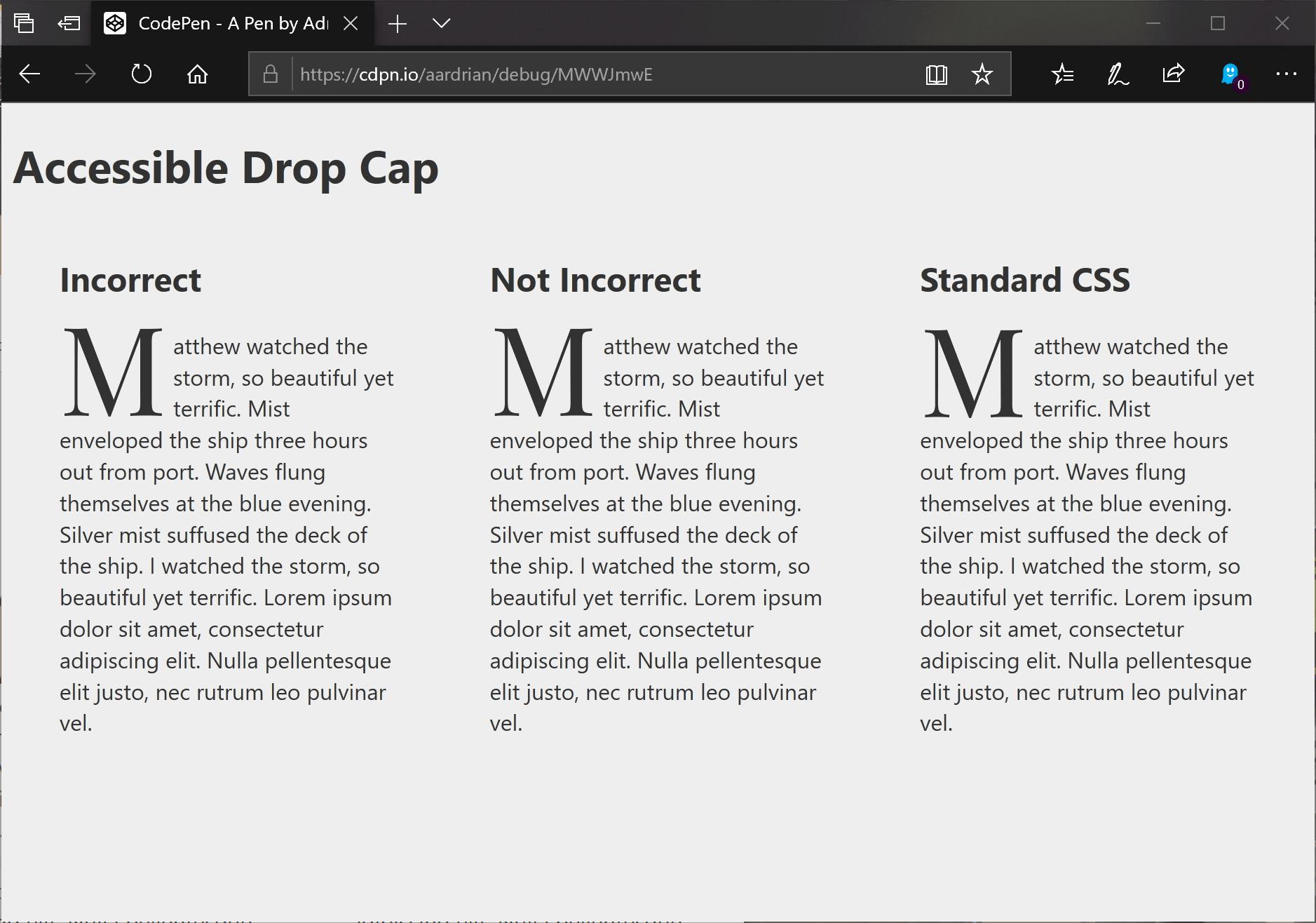 Accessible Drop Caps   Adrian Roselli