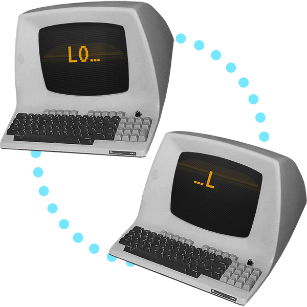 "Two old computers floating in space with a glowing dotted connection between them; one screen reads ""LO…"" while on the other screen reads ""…L""."