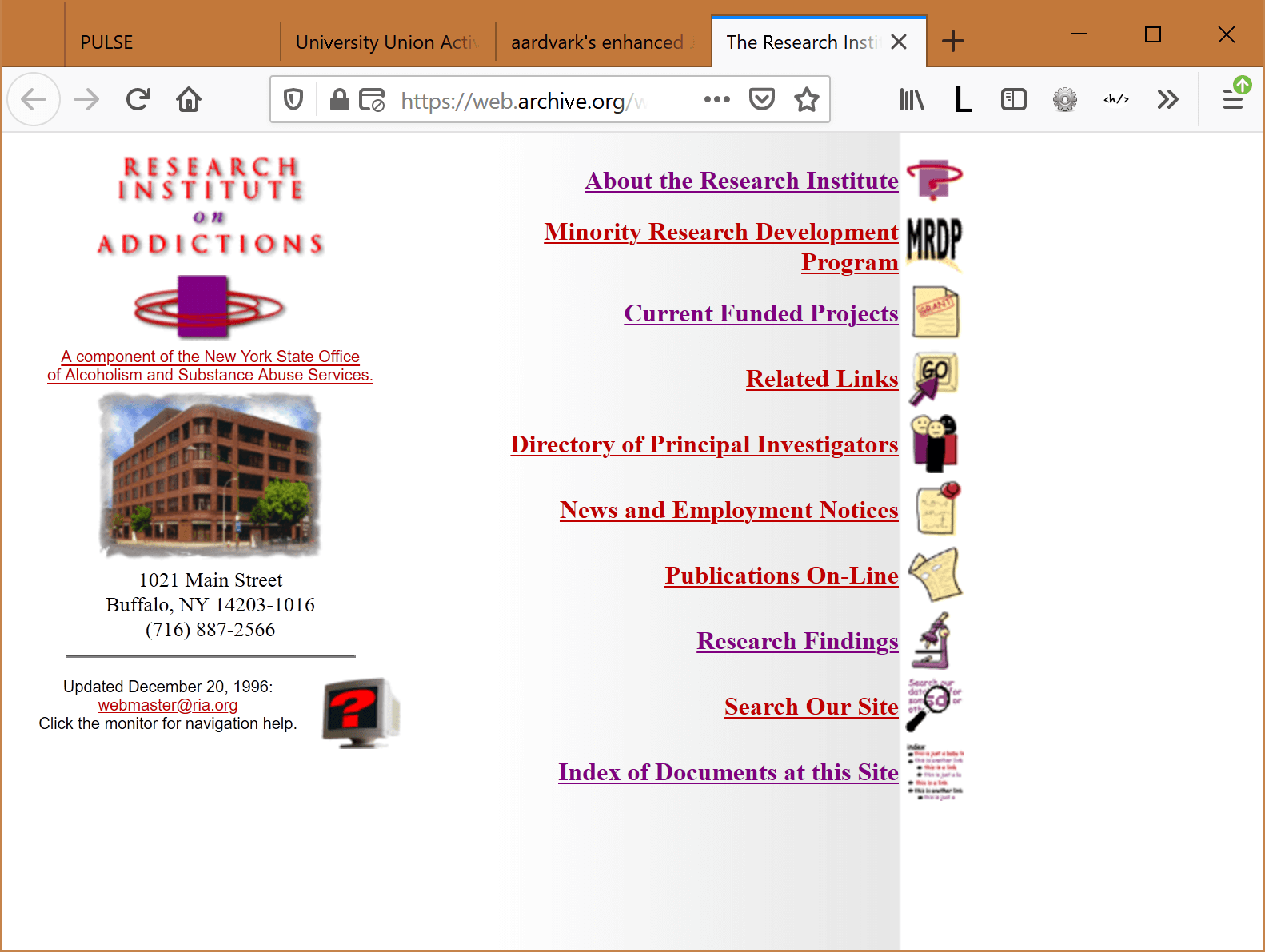 Research Institute on Addictions home page with links to all the main sections of the site.