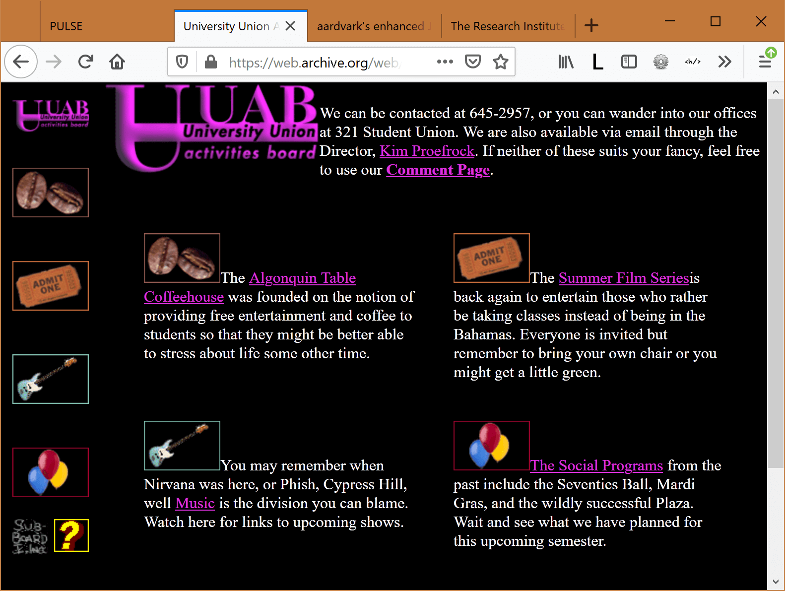 UUAB home page in a frameset with links to coffee house, films, concerts, and social events.