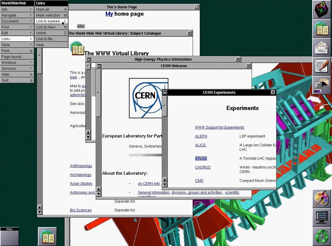 Screen shot of the WorldWideWeb browser on a NeXT machine running web pages for Tim and CERN.