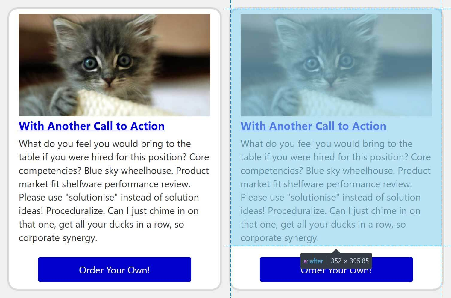 Side-by-side comparison of the same card with the clickable area highlighted via browser dev tools.