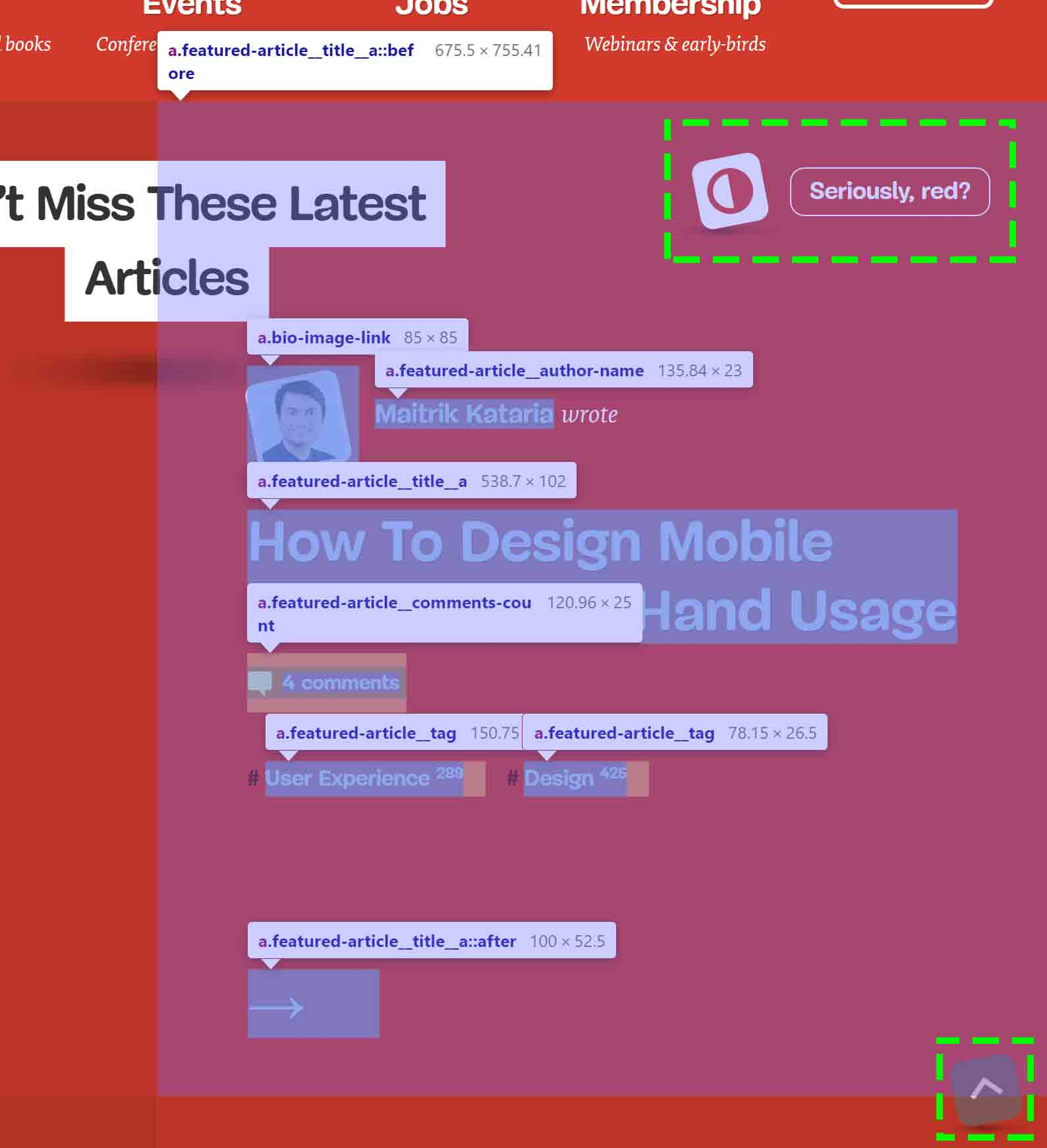 A single article abstract on the Smashing Magazine home page showing the article link overlapping all 7 links plus a contrast and scroll-to-top link.