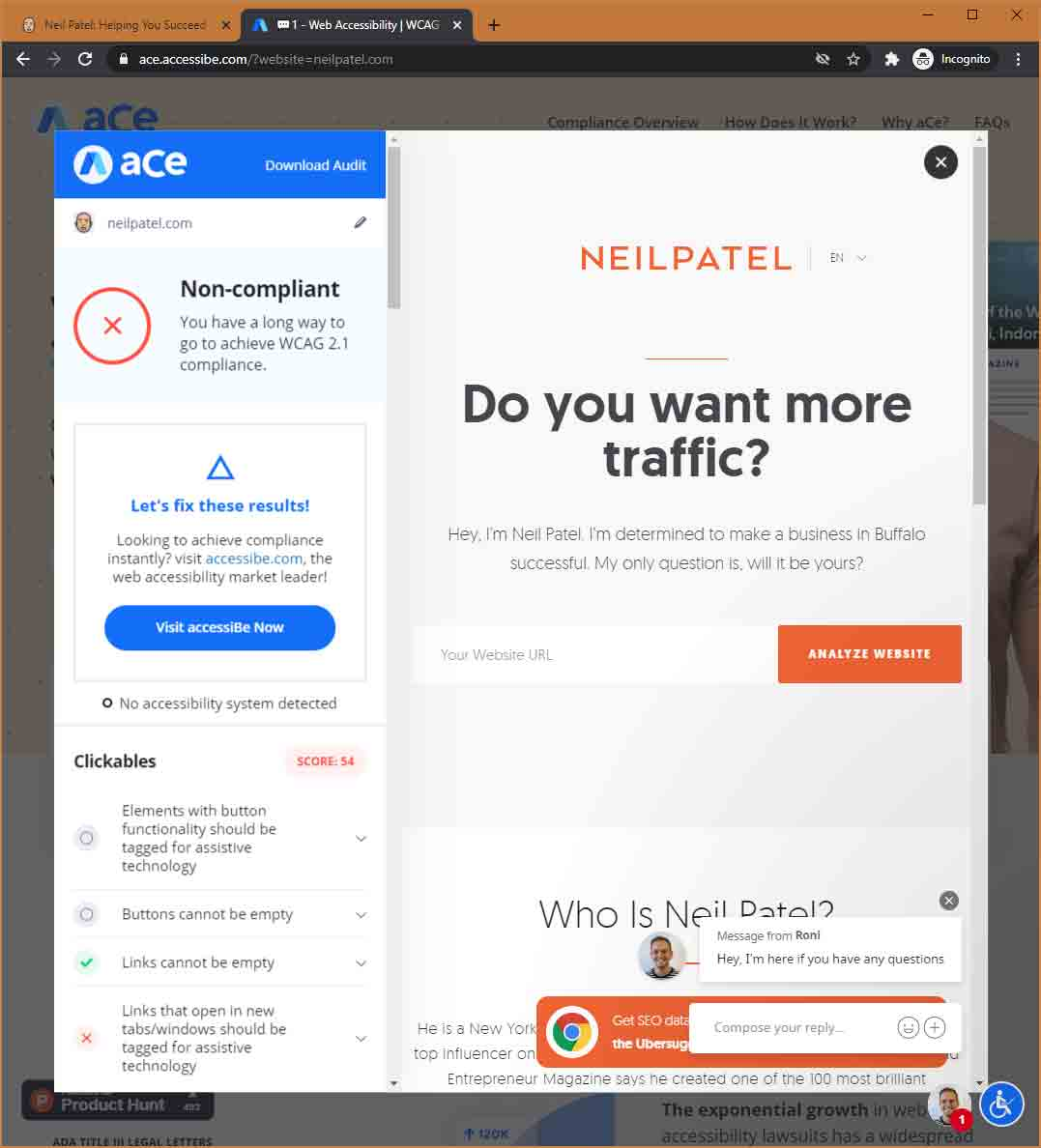 The aCe tool giving NeilPatel.com a non-compliant rating, with one score of 54 visible.
