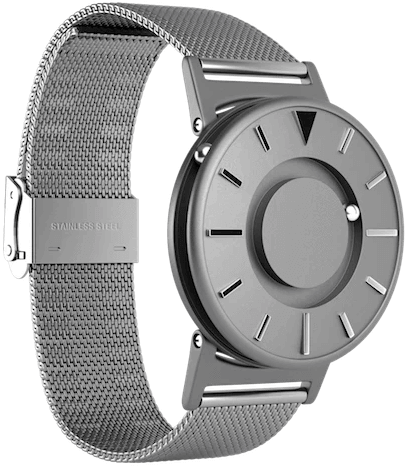 The Bradley watch showing the ball bearings and band.