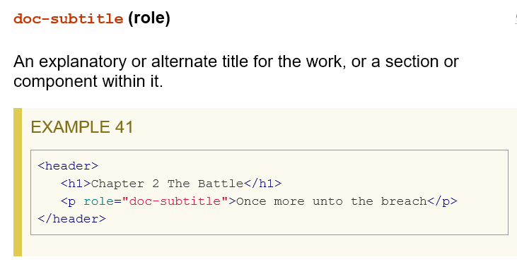 screenshot of definition of doc-subtitle with code example