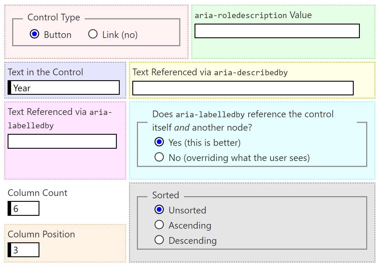 Screen shot of the form in my embedded example