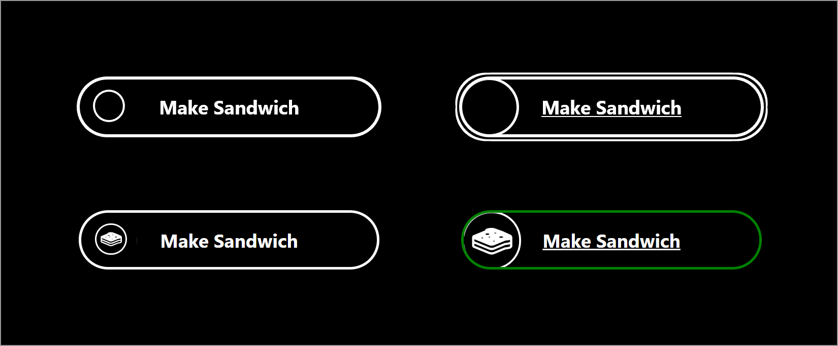 4 versions of the same button, all with a black background and monochromatic styles.